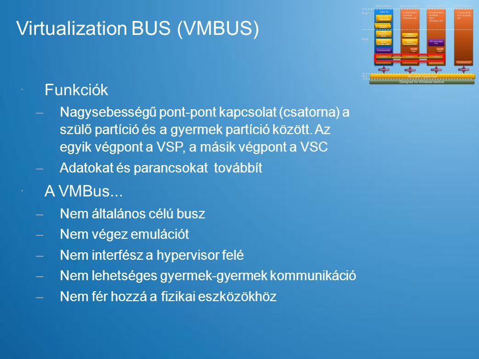 Virtualization BUS (VMBUS)  Funkciók –Nagysebességű pont-pont kapcsolat (csatorna) a szülő partíció és a gyermek partíció között. Az egyik végpont a