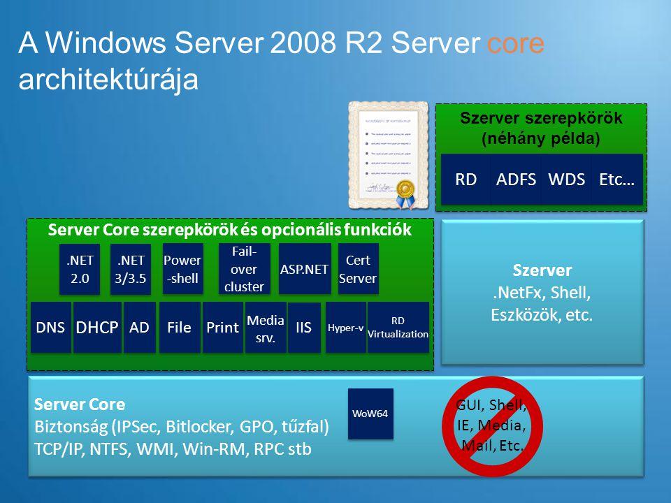 A Windows Server 2008 R2 Server core architektúrája Server Core szerepkörök és opcionális funkciók Server Core Biztonság (IPSec, Bitlocker, GPO, tűzfal) TCP/IP, NTFS, WMI, Win-RM, RPC stb Server Core Biztonság (IPSec, Bitlocker, GPO, tűzfal) TCP/IP, NTFS, WMI, Win-RM, RPC stb DNS DHCP File AD Szerver.NetFx, Shell, Eszközök, etc.