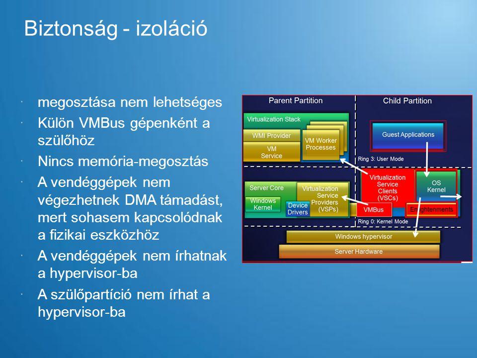 Biztonság - izoláció  megosztása nem lehetséges  Külön VMBus gépenként a szülőhöz  Nincs memória-megosztás  A vendéggépek nem végezhetnek DMA táma