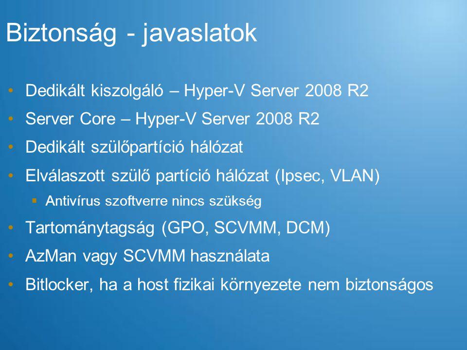 Dedikált kiszolgáló – Hyper-V Server 2008 R2 Server Core – Hyper-V Server 2008 R2 Dedikált szülőpartíció hálózat Elválaszott szülő partíció hálózat (I
