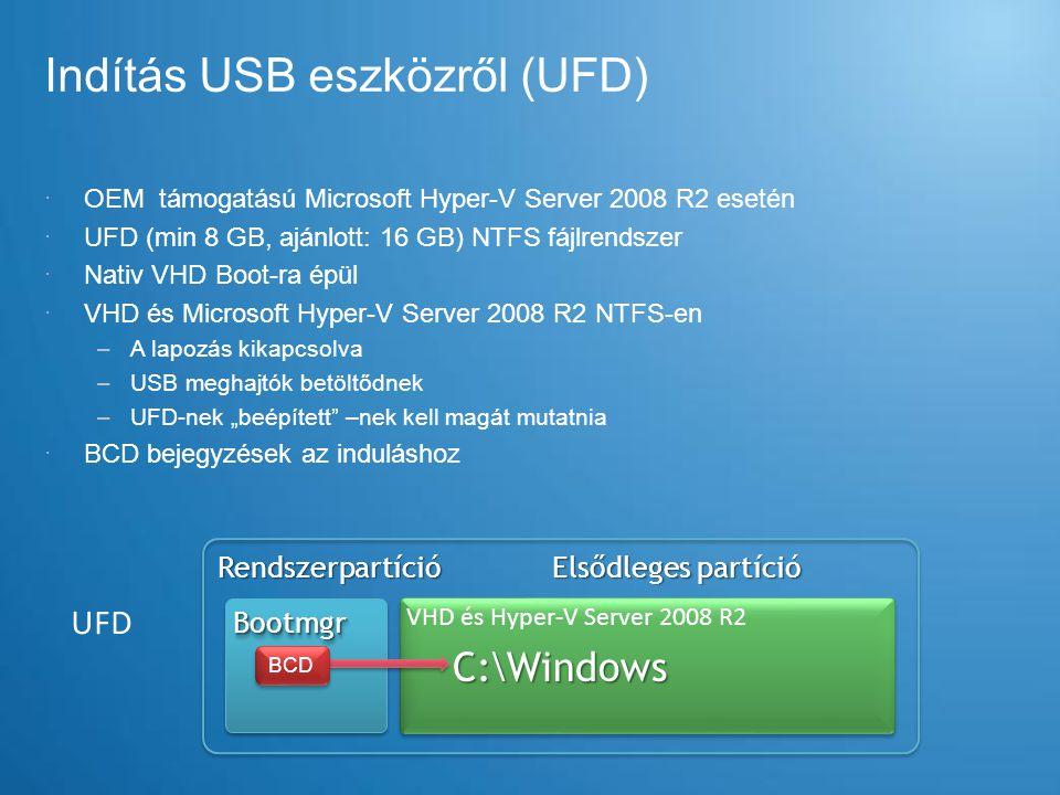 Indítás USB eszközről (UFD)  OEM támogatású Microsoft Hyper-V Server 2008 R2 esetén  UFD (min 8 GB, ajánlott: 16 GB) NTFS fájlrendszer  Nativ VHD B