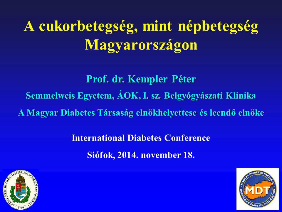 Gondozási adatok 1-es típusú cukorbetegek körében Magyarországon 6,5% alatti HbA1c érték a betegek 8%-a esetében, 7% alatti HbA1c érték 20%-uk esetében volt elérhető Optimálisnak tekinthető testsúly (BMI <25kg/m 2 ) a betegek 55% esetében állt fenn A zsíranyagcserezavar esetében az összes paraméter célértékét a betegek 18%-a esetében sikerült elérni A hypertonia kezelése a diabetesesek 30-35%-a esetében volt megfelelő Nádas J et al.