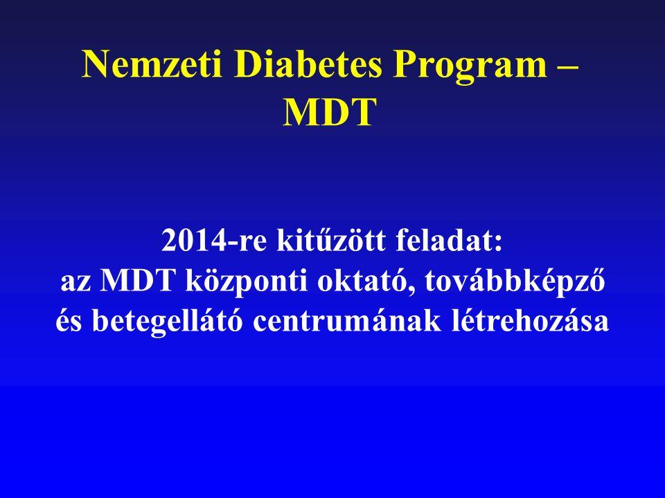Nemzeti Diabetes Program – MDT 2014-re kitűzött feladat: az MDT központi oktató, továbbképző és betegellátó centrumának létrehozása