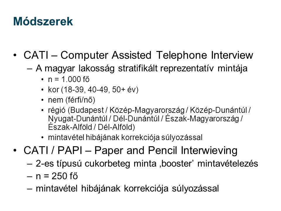 Módszerek CATI – Computer Assisted Telephone Interview –A magyar lakosság stratifikált reprezentatív mintája n = 1.000 fő kor (18-39, 40-49, 50+ év) n