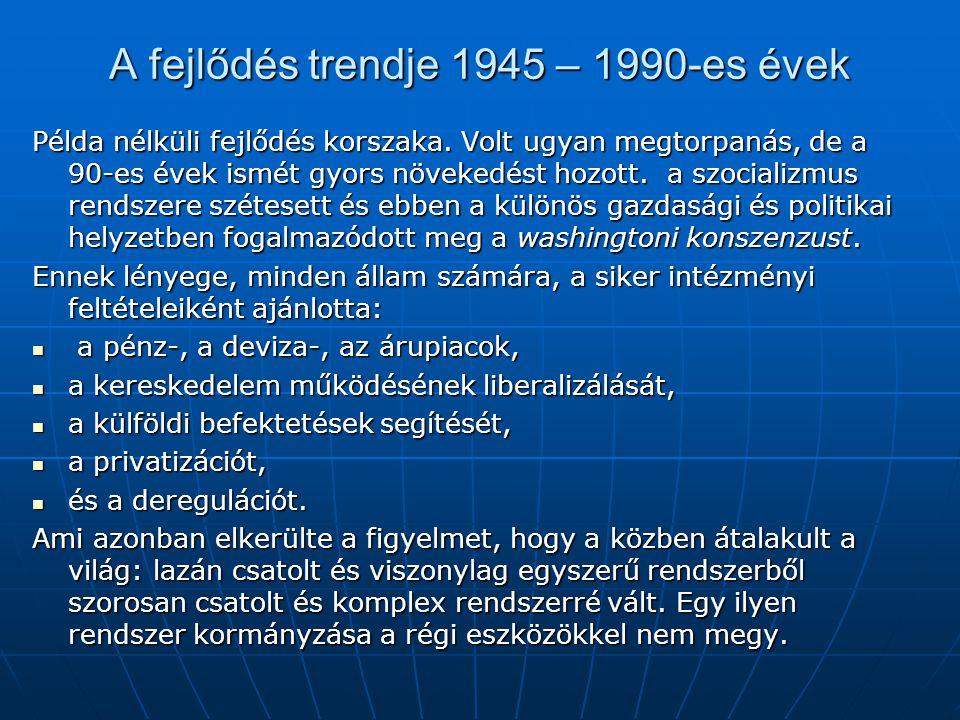 A fejlődés trendje 1945 – 1990-es évek Példa nélküli fejlődés korszaka. Volt ugyan megtorpanás, de a 90-es évek ismét gyors növekedést hozott. a szoci