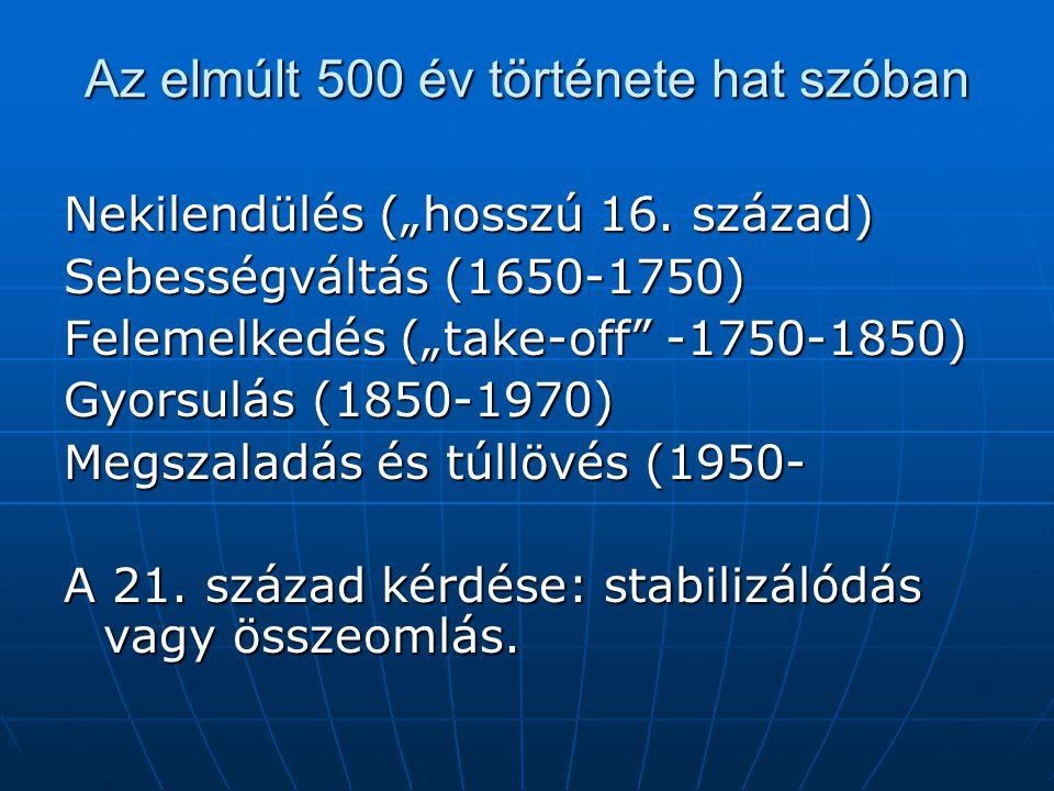 """Az elmúlt 500 év története hat szóban Nekilendülés (""""hosszú 16. század) Sebességváltás (1650-1750) Felemelkedés (""""take-off"""" -1750-1850) Gyorsulás (185"""