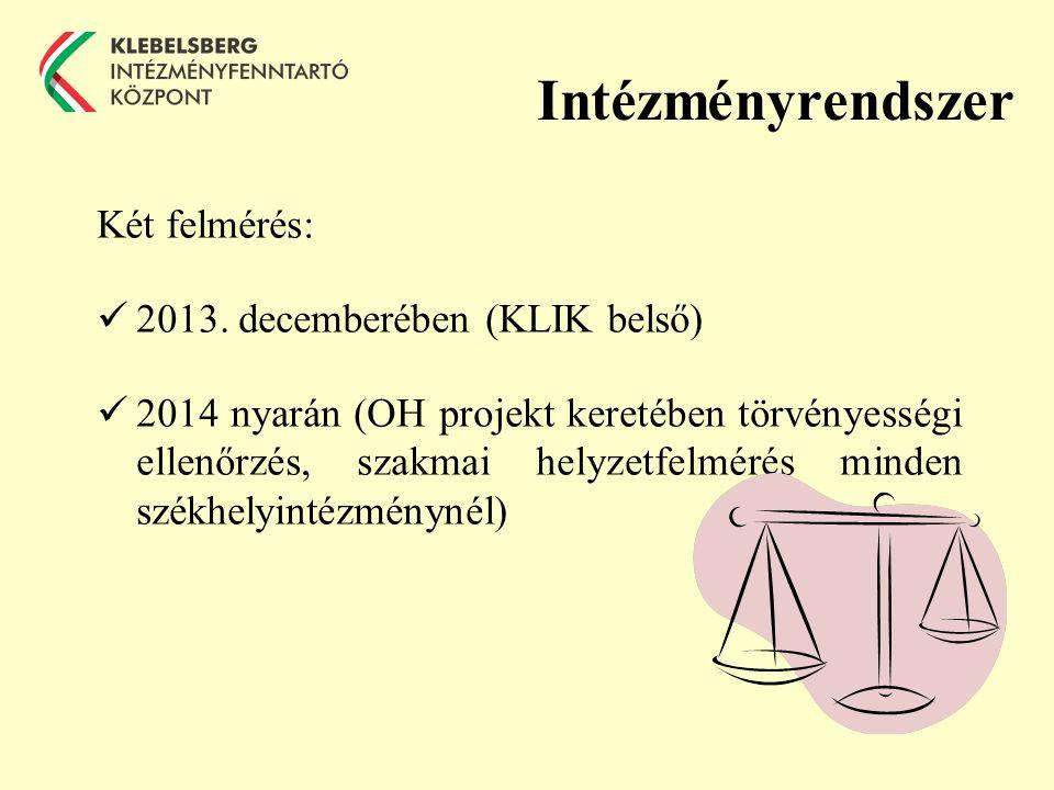 Intézményrendszer Két felmérés: 2013.