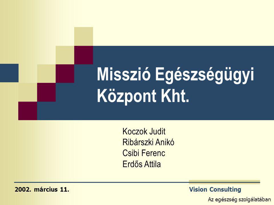 Vision Consulting Az egészség szolgálatában Misszió Egészségügyi Központ Kht. Koczok Judit Ribárszki Anikó Csibi Ferenc Erdős Attila 2002. március 11.