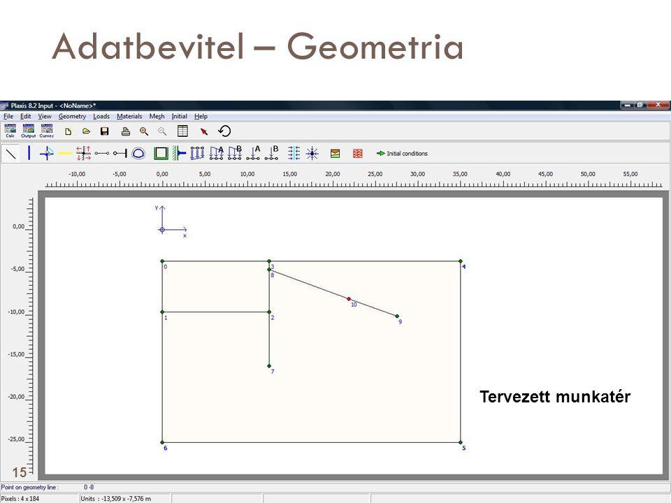 Adatbevitel – Geometria Tervezett munkatér 15