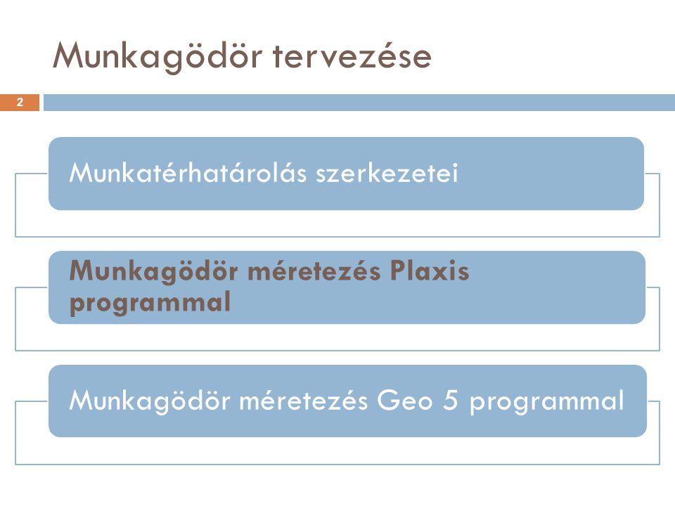 Munkagödör tervezése Munkatérhatárolás szerkezetei Munkagödör méretezés Plaxis programmal Munkagödör méretezés Geo 5 programmal 2
