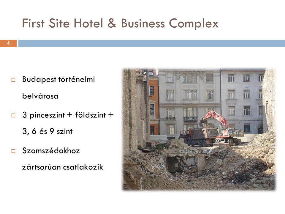 First Site Hotel & Business Complex  Budapest történelmi belvárosa  3 pinceszint + földszint + 3, 6 és 9 szint  Szomszédokhoz zártsorúan csatlakozi