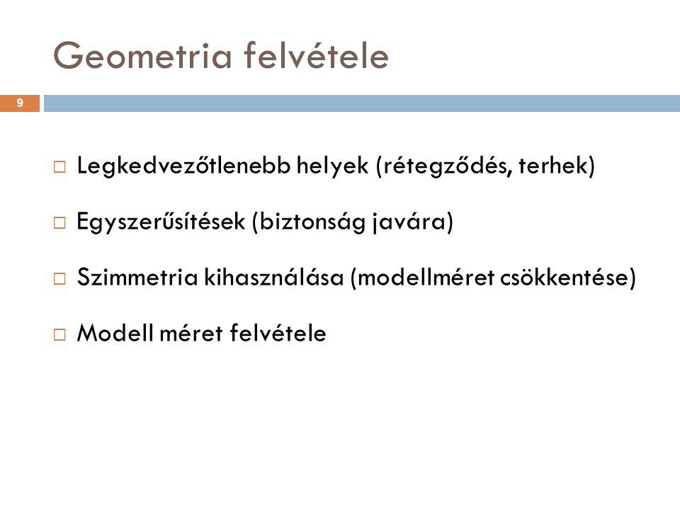 Geometria felvétele  Legkedvezőtlenebb helyek (rétegződés, terhek)  Egyszerűsítések (biztonság javára)  Szimmetria kihasználása (modellméret csökke