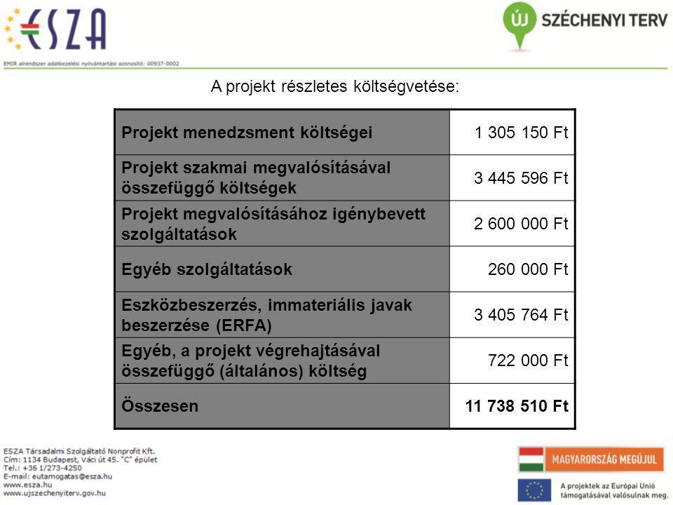A projekt részletes költségvetése: Projekt menedzsment költségei1 305 150 Ft Projekt szakmai megvalósításával összefüggő költségek 3 445 596 Ft Projekt megvalósításához igénybevett szolgáltatások 2 600 000 Ft Egyéb szolgáltatások260 000 Ft Eszközbeszerzés, immateriális javak beszerzése (ERFA) 3 405 764 Ft Egyéb, a projekt végrehajtásával összefüggő (általános) költség 722 000 Ft Összesen11 738 510 Ft