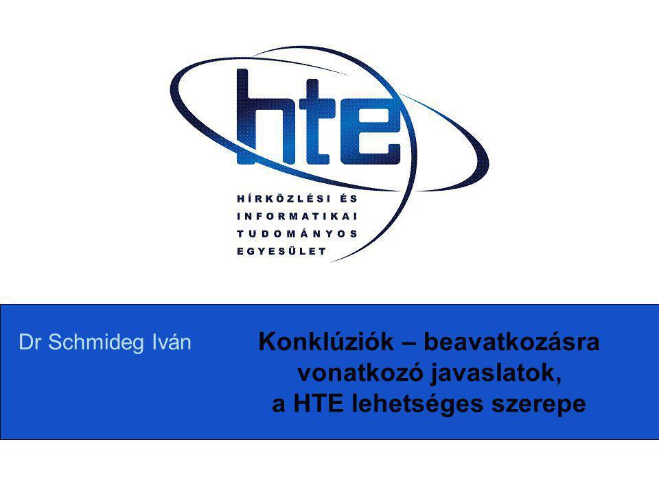 Konklúziók – beavatkozásra vonatkozó javaslatok, a HTE lehetséges szerepe Dr Schmideg Iván
