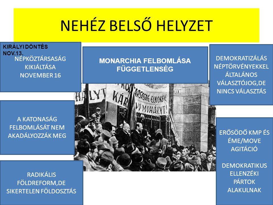 NEHÉZ BELSŐ HELYZET NÉPKÖZTÁRSASÁG KIKIÁLTÁSA NOVEMBER 16 KIRÁLYI DÖNTÉS NOV.13. MONARCHIA FELBOMLÁSA FÜGGETLENSÉG DEMOKRATIZÁLÁS NÉPTÖRVÉNYEKKEL ÁLTA