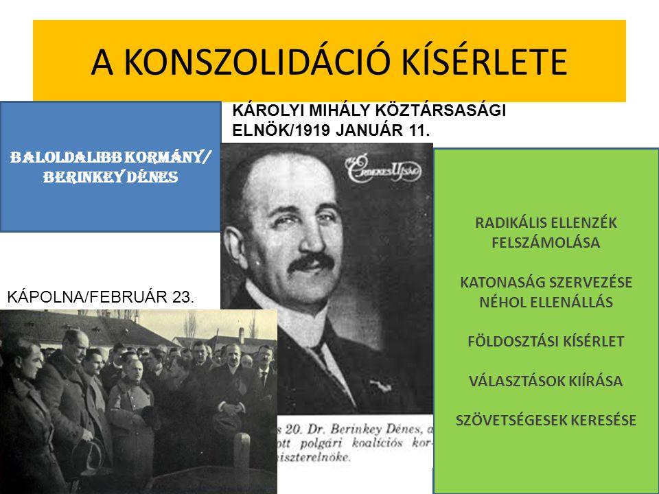 A KONSZOLIDÁCIÓ KÍSÉRLETE BALOLDALIBB KORMÁNY/ BERINKEY DÉNES KÁROLYI MIHÁLY KÖZTÁRSASÁGI ELNÖK/1919 JANUÁR 11. RADIKÁLIS ELLENZÉK FELSZÁMOLÁSA KATONA