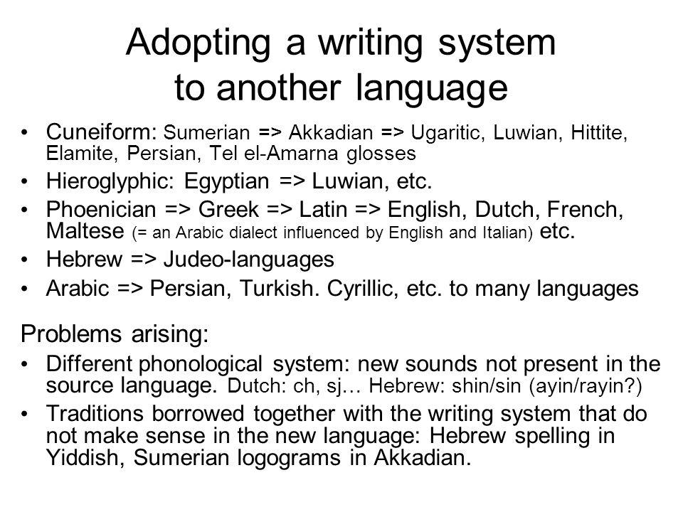 Adopting a writing system to another language Cuneiform: Sumerian => Akkadian => Ugaritic, Luwian, Hittite, Elamite, Persian, Tel el-Amarna glosses Hieroglyphic: Egyptian => Luwian, etc.