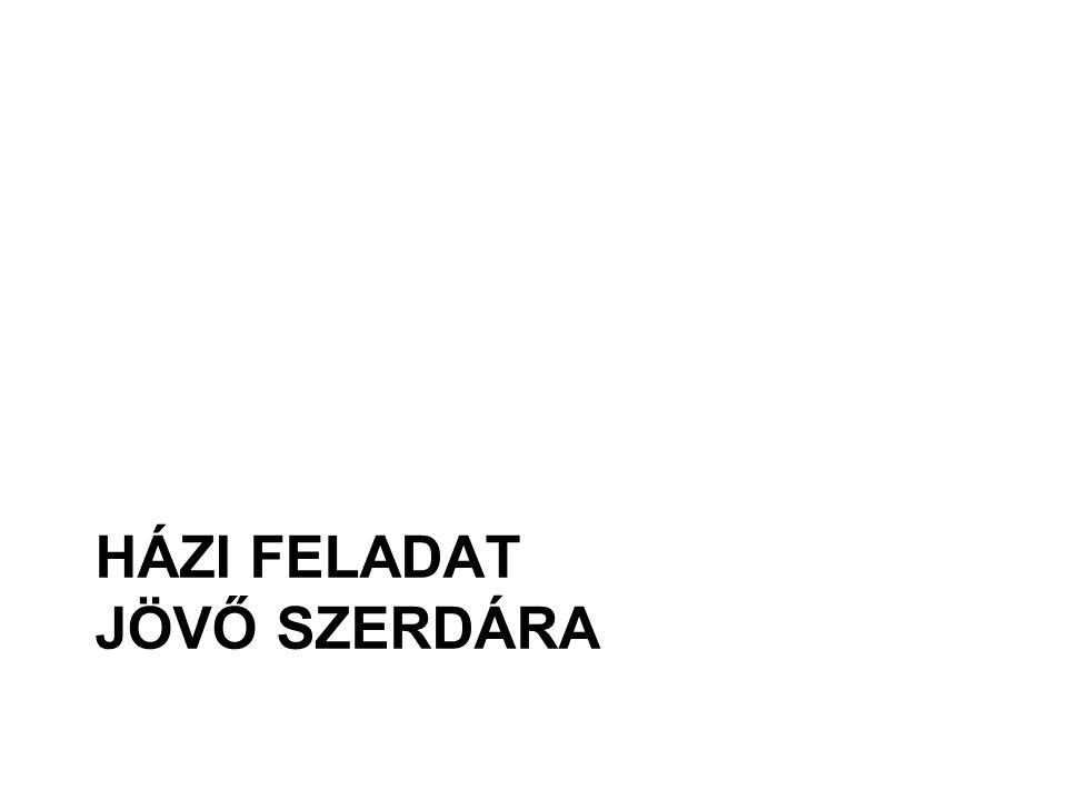 HÁZI FELADAT JÖVŐ SZERDÁRA