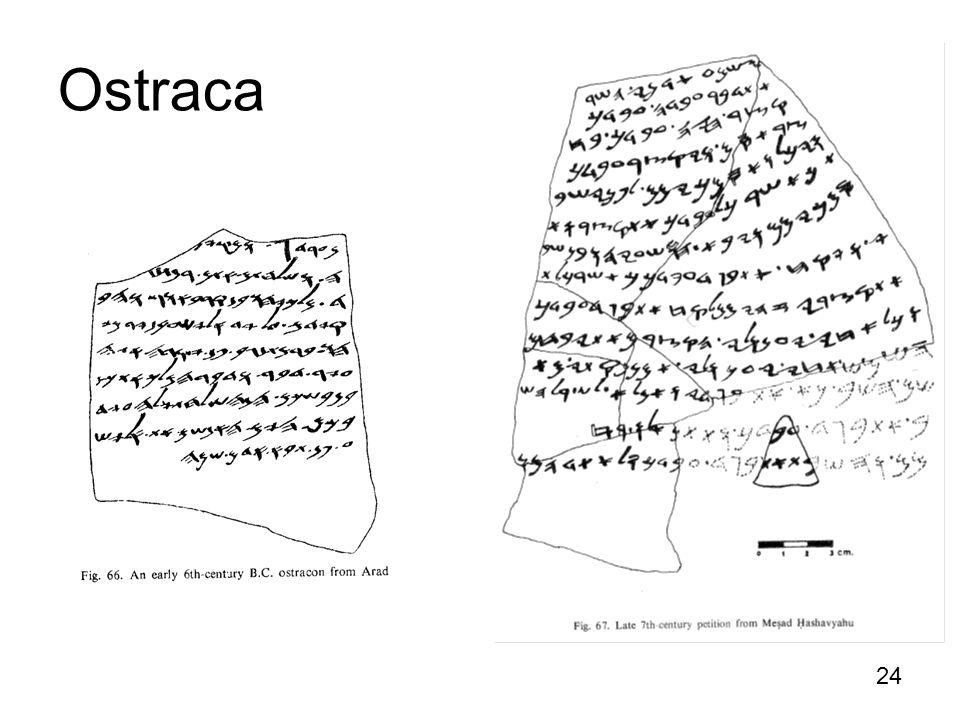 24 http://en.wikipedia.org/wiki/Gezer_calenda r Ostraca