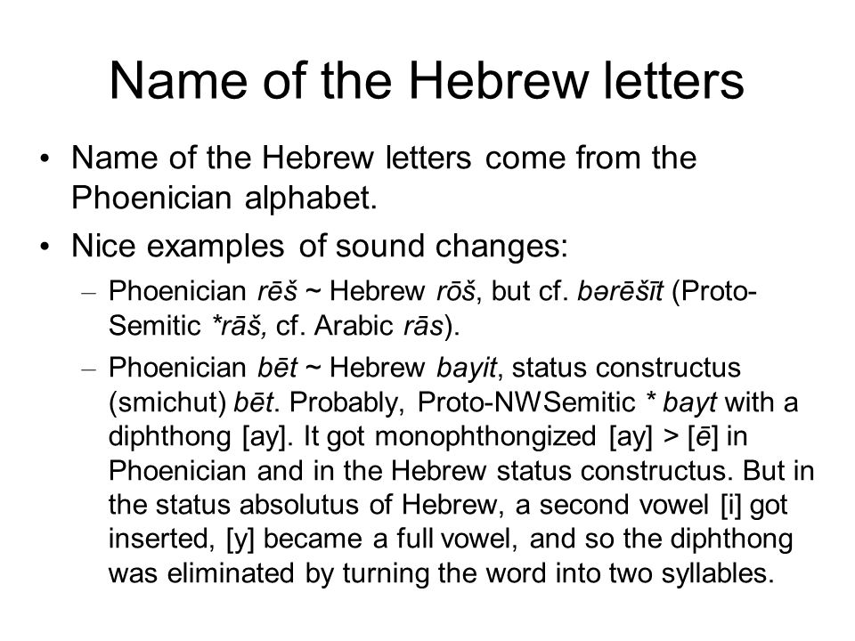 Name of the Hebrew letters Name of the Hebrew letters come from the Phoenician alphabet.