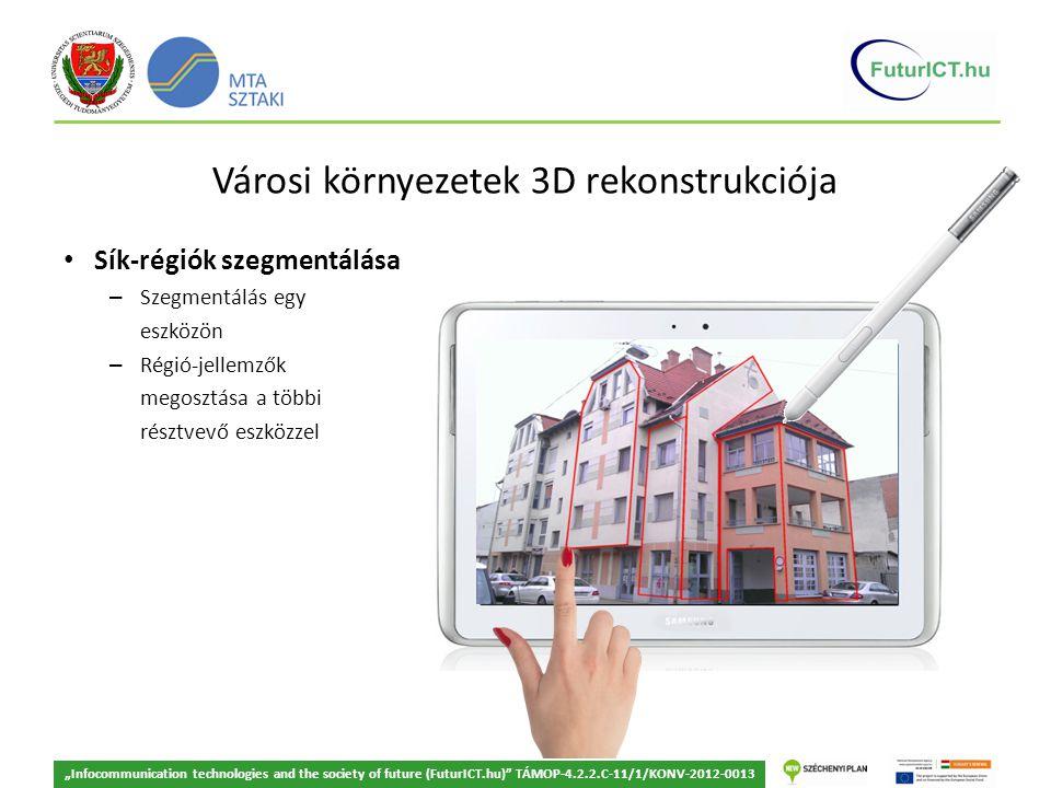 """Városi környezetek 3D rekonstrukciója Sík-régiók szegmentálása – Szegmentálás egy eszközön – Régió-jellemzők megosztása a többi résztvevő eszközzel """"Infocommunication technologies and the society of future (FuturICT.hu) TÁMOP-4.2.2.C-11/1/KONV-2012-0013"""