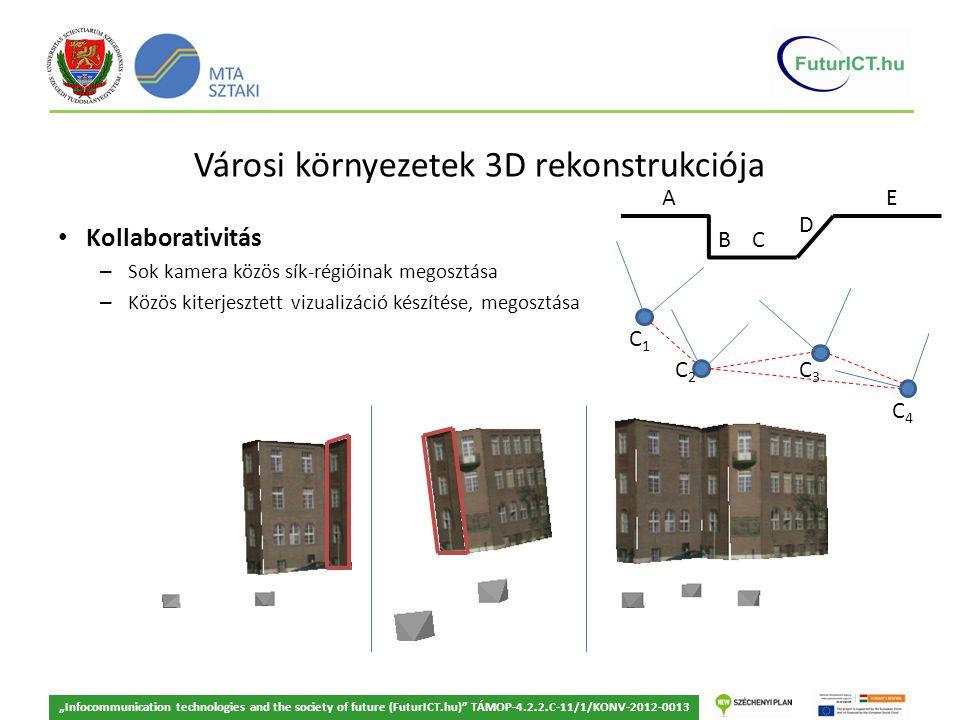 """Városi környezetek 3D rekonstrukciója Kollaborativitás – Sok kamera közös sík-régióinak megosztása – Közös kiterjesztett vizualizáció készítése, megosztása """"Infocommunication technologies and the society of future (FuturICT.hu) TÁMOP-4.2.2.C-11/1/KONV-2012-0013 A B C D E C1C1 C2C2 C3C3 C4C4"""