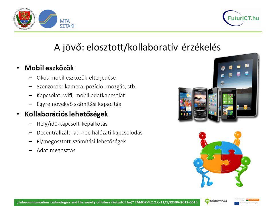A jövő: elosztott/kollaboratív érzékelés Mobil eszközök – Okos mobil eszközök elterjedése – Szenzorok: kamera, pozíció, mozgás, stb.
