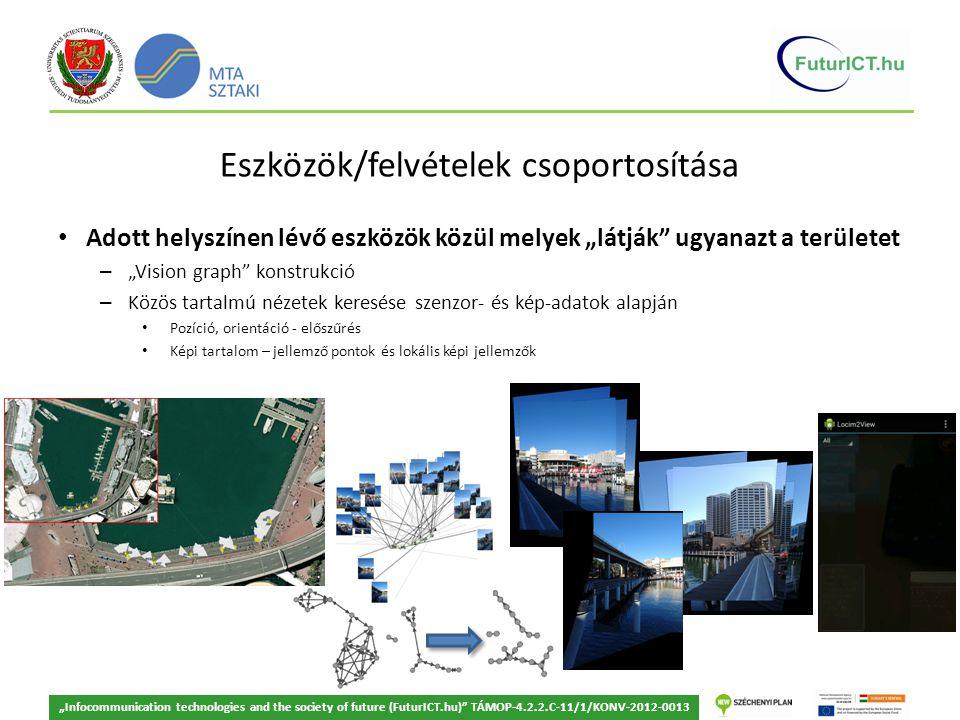 """""""Infocommunication technologies and the society of future (FuturICT.hu) TÁMOP-4.2.2.C-11/1/KONV-2012-0013 Eszközök/felvételek csoportosítása Adott helyszínen lévő eszközök közül melyek """"látják ugyanazt a területet – """"Vision graph konstrukció – Közös tartalmú nézetek keresése szenzor- és kép-adatok alapján Pozíció, orientáció - előszűrés Képi tartalom – jellemző pontok és lokális képi jellemzők"""