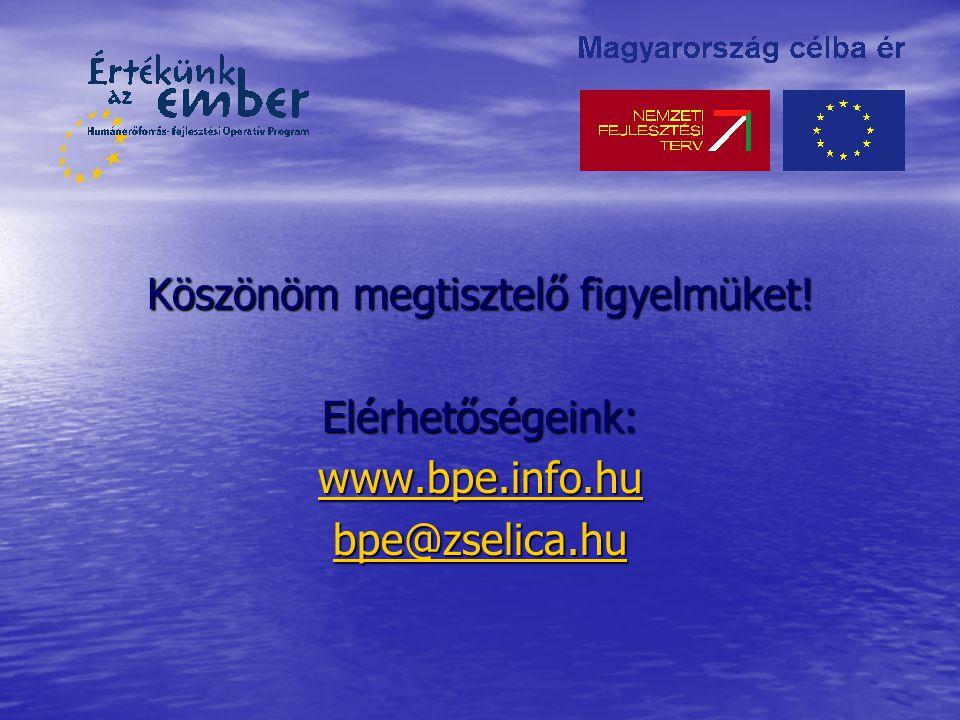 Köszönöm megtisztelő figyelmüket! Elérhetőségeink: www.bpe.info.hu bpe@zselica.hu