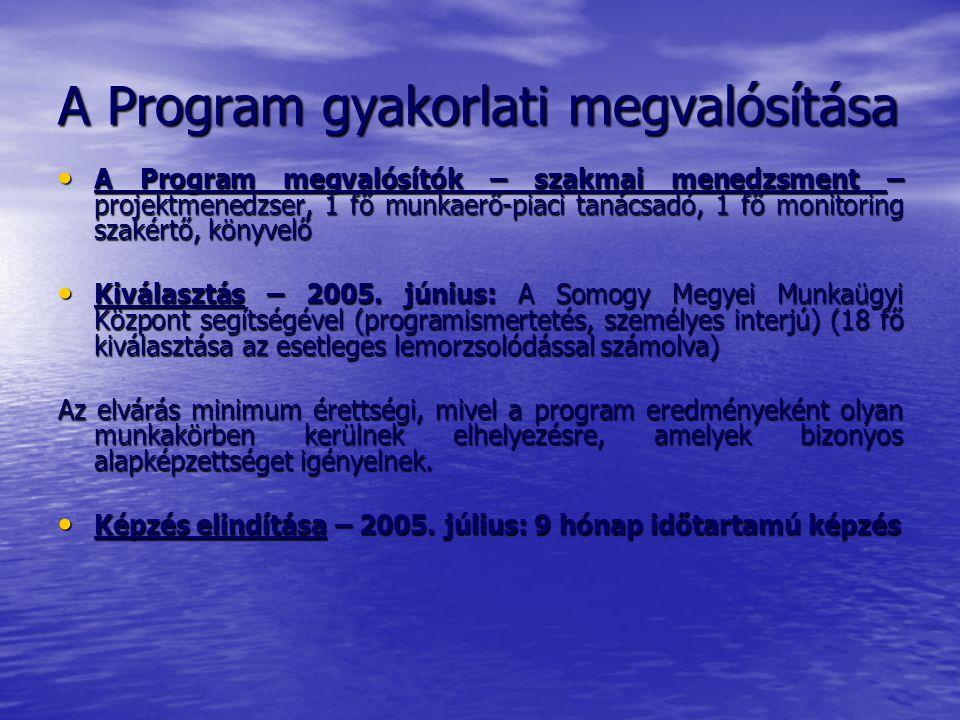 A Program gyakorlati megvalósítása A Program megvalósítók – szakmai menedzsment – projektmenedzser, 1 fő munkaerő-piaci tanácsadó, 1 fő monitoring szakértő, könyvelő A Program megvalósítók – szakmai menedzsment – projektmenedzser, 1 fő munkaerő-piaci tanácsadó, 1 fő monitoring szakértő, könyvelő Kiválasztás – 2005.