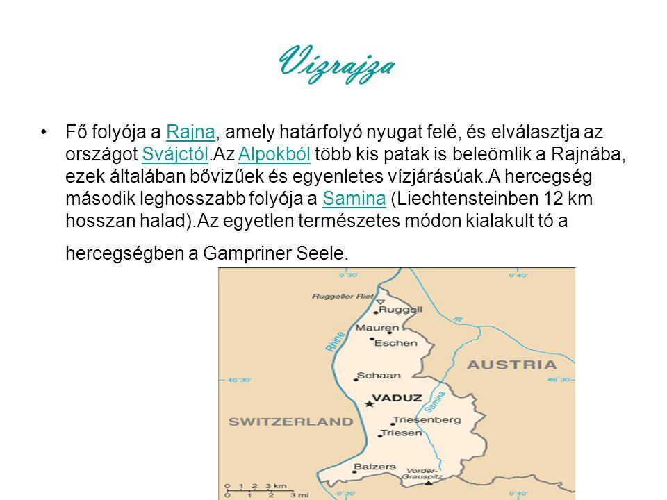 Vízrajza Fő folyója a Rajna, amely határfolyó nyugat felé, és elválasztja az országot Svájctól.Az Alpokból több kis patak is beleömlik a Rajnába, ezek általában bővizűek és egyenletes vízjárásúak.A hercegség második leghosszabb folyója a Samina (Liechtensteinben 12 km hosszan halad).Az egyetlen természetes módon kialakult tó a hercegségben a Gampriner Seele.RajnaSvájctólAlpokbólSamina