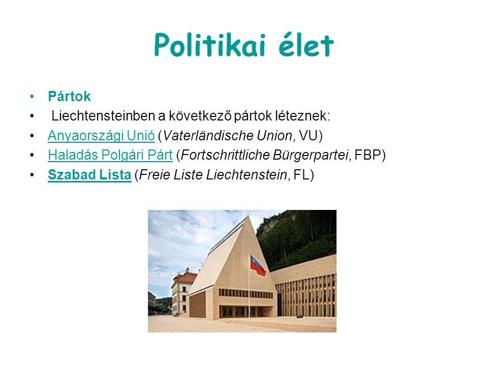Politikai élet Pártok Liechtensteinben a következő pártok léteznek: Anyaországi Unió (Vaterländische Union, VU)Anyaországi Unió Haladás Polgári Párt (Fortschrittliche Bürgerpartei, FBP)Haladás Polgári Párt Szabad Lista (Freie Liste Liechtenstein, FL)Szabad Lista