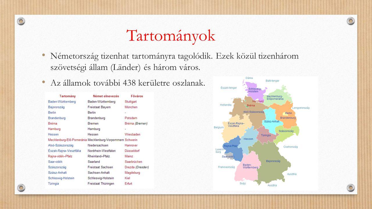 Tartományok Németország tizenhat tartományra tagolódik. Ezek közül tizenhárom szövetségi állam (Länder) és három város. Az államok további 438 kerület