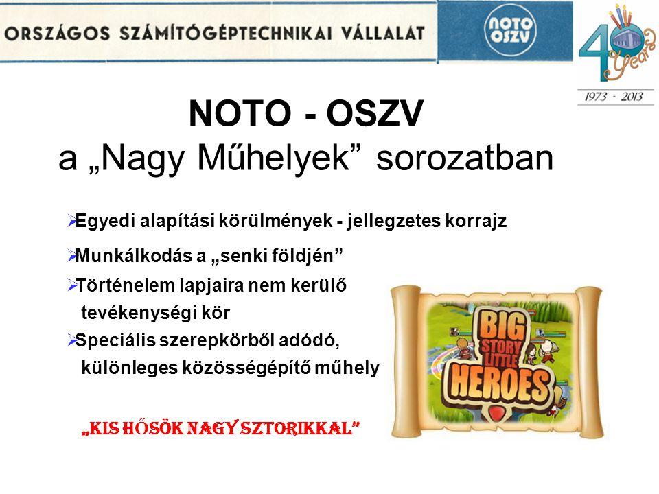 """NOTO - OSZV a """"Nagy Műhelyek"""" sorozatban  Egyedi alapítási körülmények - jellegzetes korrajz  Munkálkodás a """"senki földjén""""  Történelem lapjaira ne"""