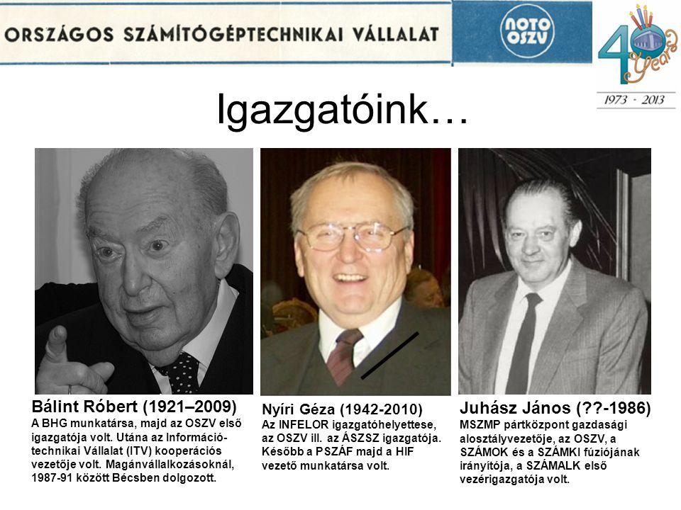 Igazgatóink… Nyíri Géza (1942-2010) Az INFELOR igazgatóhelyettese, az OSZV ill. az ÁSZSZ igazgatója. Később a PSZÁF majd a HIF vezető munkatársa volt.