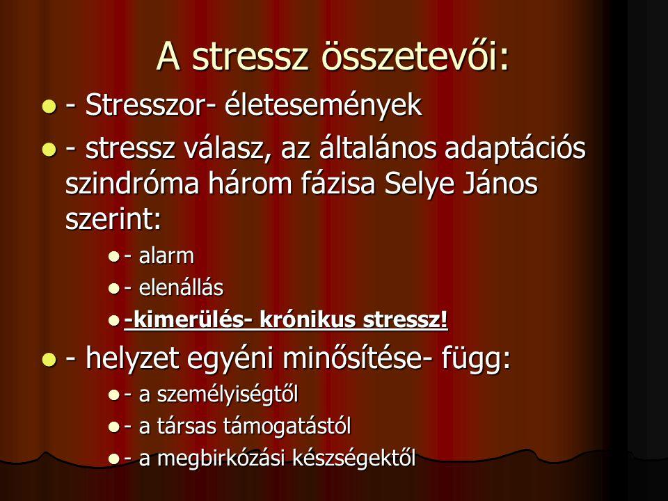 A modern stresszelmélet lényege: Stressz legáltalánosabb értelemben: magatartási választ igénylő helyzetek az ember és környezete közötti kapcsolatban
