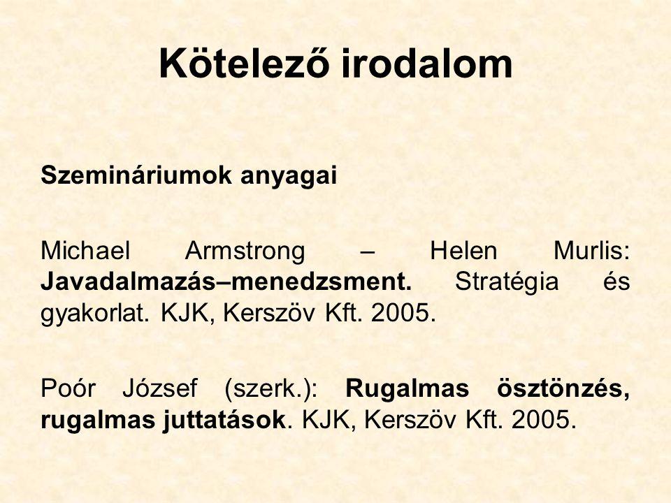 Kötelező irodalom Szemináriumok anyagai Michael Armstrong – Helen Murlis: Javadalmazás–menedzsment.