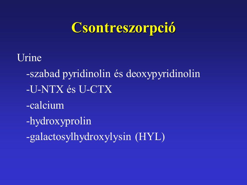 Csontreszorpció Urine -szabad pyridinolin és deoxypyridinolin -U-NTX és U-CTX -calcium -hydroxyprolin -galactosylhydroxylysin (HYL)