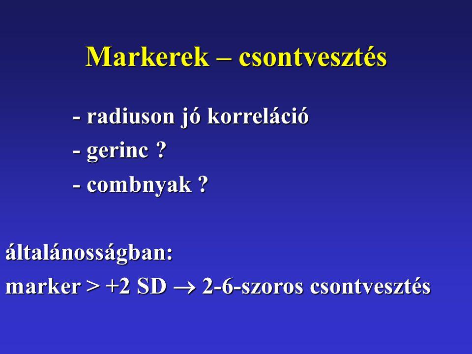Markerek – csontvesztés - radiuson jó korreláció - gerinc .