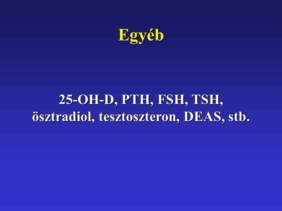 Egyéb 25-OH-D, PTH, FSH, TSH, ösztradiol, tesztoszteron, DEAS, stb.