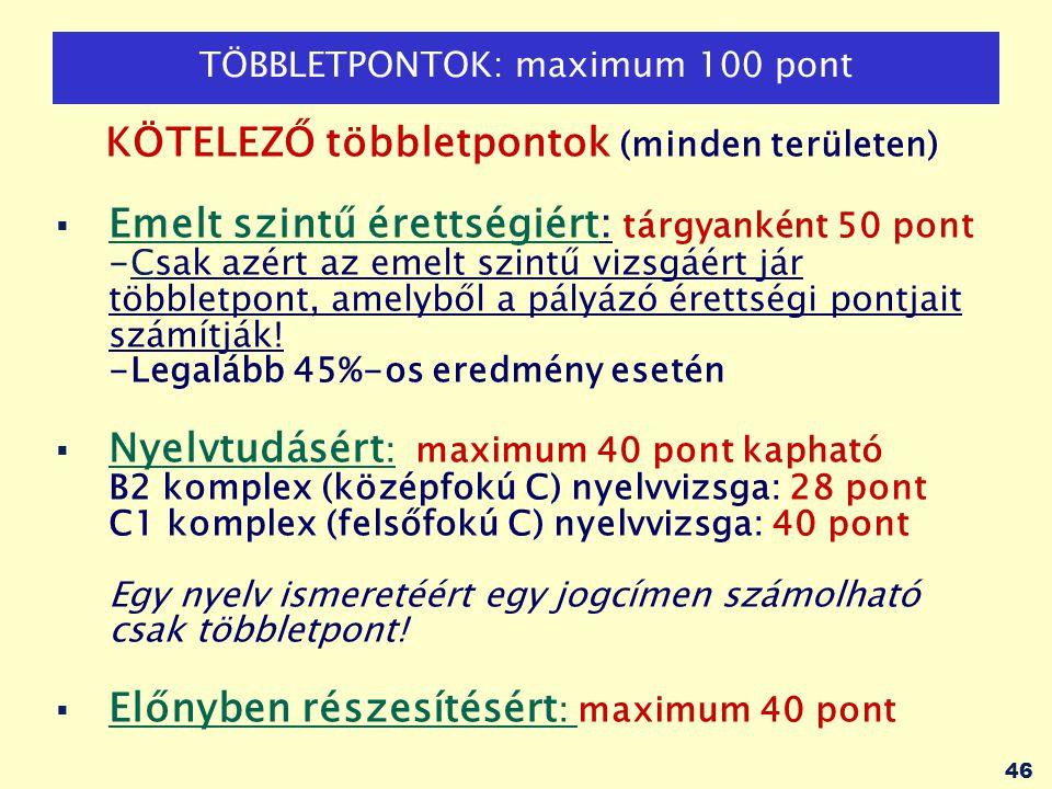 46 TÖBBLETPONTOK: maximum 100 pont KÖTELEZŐ többletpontok (minden területen)  Emelt szintű érettségiért: tárgyanként 50 pont -Csak azért az emelt szi
