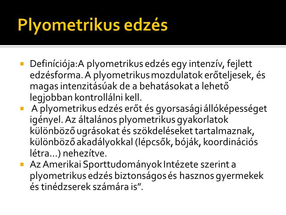  Definíciója:A plyometrikus edzés egy intenzív, fejlett edzésforma. A plyometrikus mozdulatok erőteljesek, és magas intenzitásúak de a behatásokat a