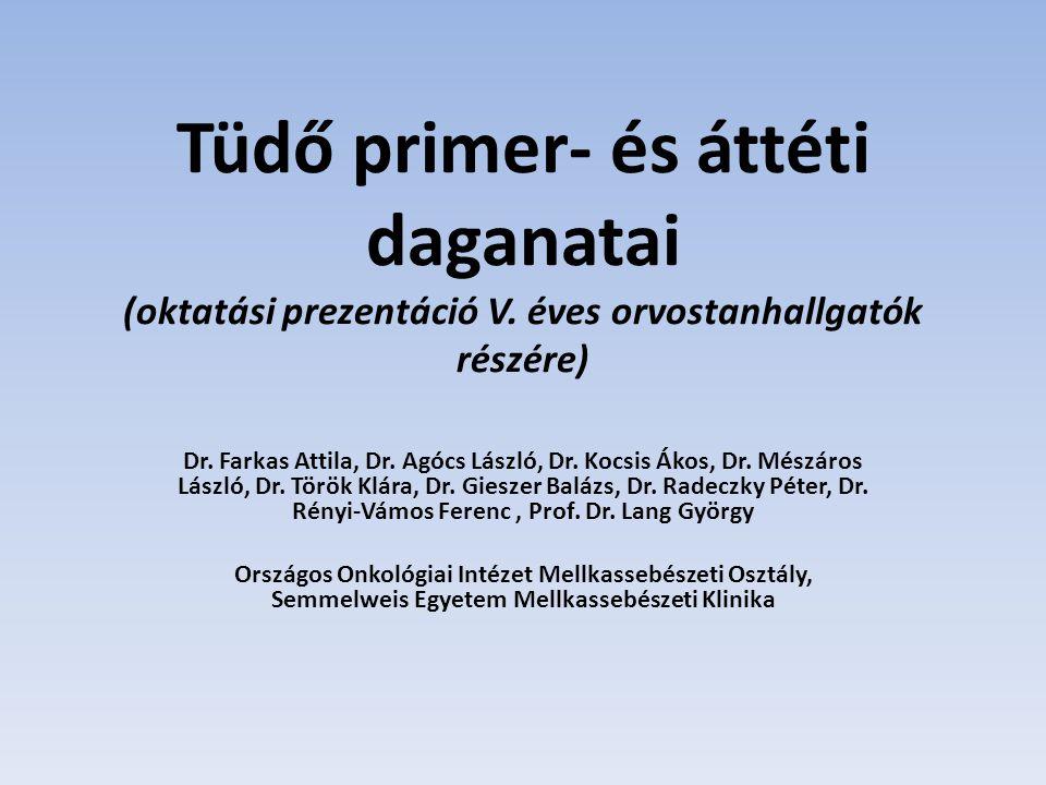 Tüdő primer- és áttéti daganatai (oktatási prezentáció V. éves orvostanhallgatók részére) Dr. Farkas Attila, Dr. Agócs László, Dr. Kocsis Ákos, Dr. Mé