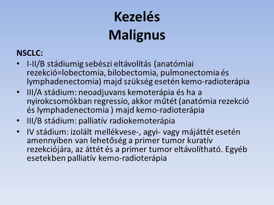 Kezelés Malignus NSCLC: I-II/B stádiumig sebészi eltávolítás (anatómiai rezekció=lobectomia, bilobectomia, pulmonectomia és lymphadenectomia) majd szü
