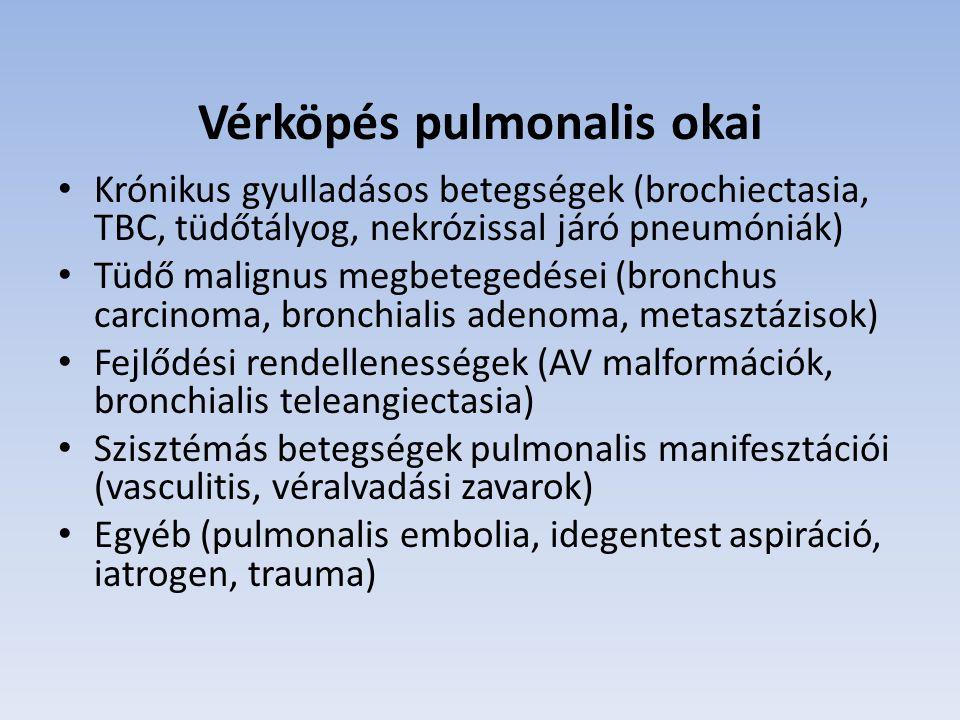 Vérköpés pulmonalis okai Krónikus gyulladásos betegségek (brochiectasia, TBC, tüdőtályog, nekrózissal járó pneumóniák) Tüdő malignus megbetegedései (b