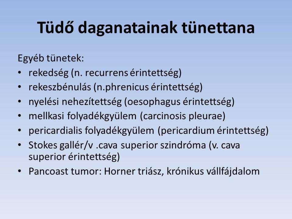 Tüdő daganatainak tünettana Egyéb tünetek: rekedség (n. recurrens érintettség) rekeszbénulás (n.phrenicus érintettség) nyelési nehezítettség (oesophag