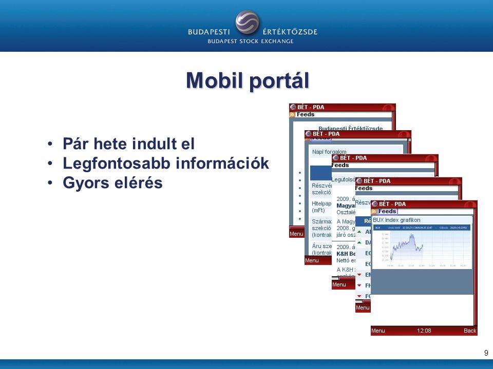 Mobil portál 9 Pár hete indult el Legfontosabb információk Gyors elérés