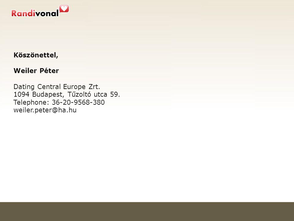 Köszönettel, Weiler Péter Dating Central Europe Zrt.