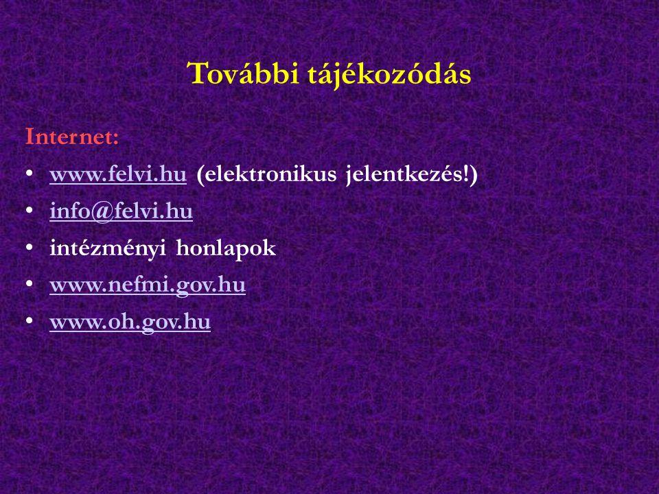 További tájékozódás Internet: www.felvi.hu (elektronikus jelentkezés!)www.felvi.hu info@felvi.hu intézményi honlapok www.nefmi.gov.hu www.oh.gov.hu