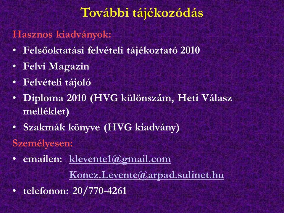 További tájékozódás Hasznos kiadványok: Felsőoktatási felvételi tájékoztató 2010 Felvi Magazin Felvételi tájoló Diploma 2010 (HVG különszám, Heti Válasz melléklet) Szakmák könyve (HVG kiadvány) Személyesen: emailen: klevente1@gmail.comklevente1@gmail.com Koncz.Levente@arpad.sulinet.hu telefonon: 20/770-4261